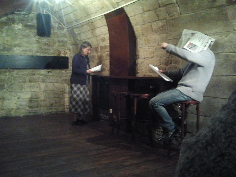 Stephane Campion as MARY and Damian Corcoran as JIMMY in Moving Parts reading of Tenebrae in 2013